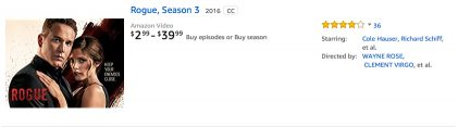 Rogue TV Season 3 on Amazon